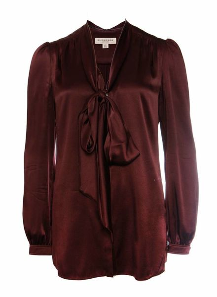 Burberry Burberry, Burgundy gekleurde bloes met strik in maat IT40/XS.