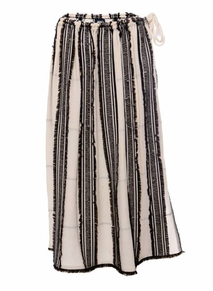 Lanvin Lanvin, River 2015 collection. Long Ecru colored skirt with black stripes in size 38FR/S.