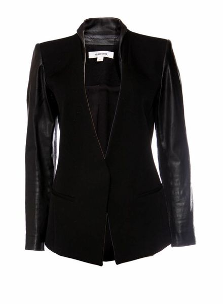 Helmut Lang Helmut Lang, black woollen blazer with leather sleeves in size 6/S.