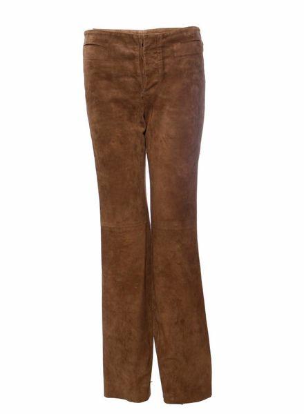 Gucci Gucci, camelkleurige suede broek met uitlopende pijp.