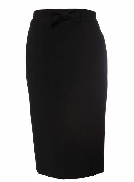 Burberry Burberry, zwarte rok met strik en split aan de achterkant in maat IT38/XS.