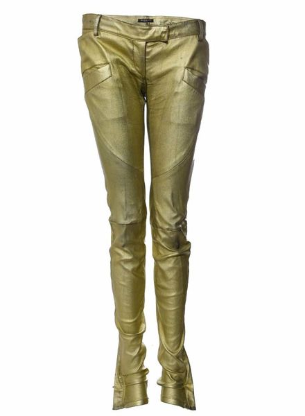 Balmain Balmain, metallic goud leren biker in maat 40FR/M.