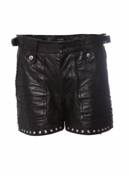 Isabel Marant Isabel Marant, zwart leren shorts met zilveren metalen ringetjes.