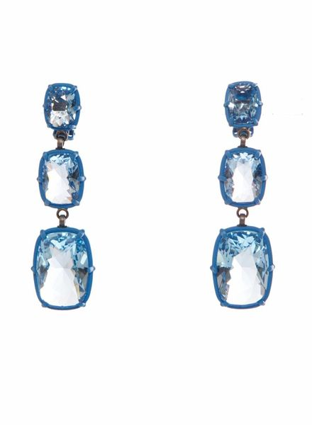 Atelier Swarovski Atelier Swarovski, blue squared drop earrings.