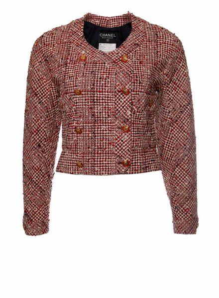 Chanel Chanel, Roodkleurig boucle jasje in maat FR38/S.