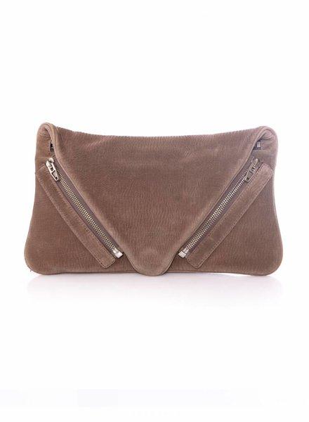 Alexander Wang Alexander Wang, Jena lasercut leather clutch in brown.