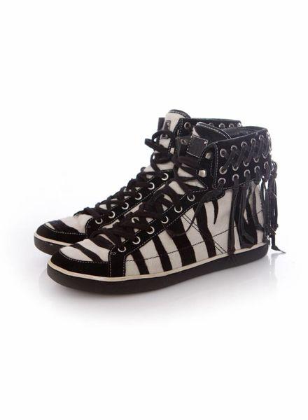 Balmain Balmain, Hightop sneakers in zebra ponyskin met glitterfranjes in maat 38.