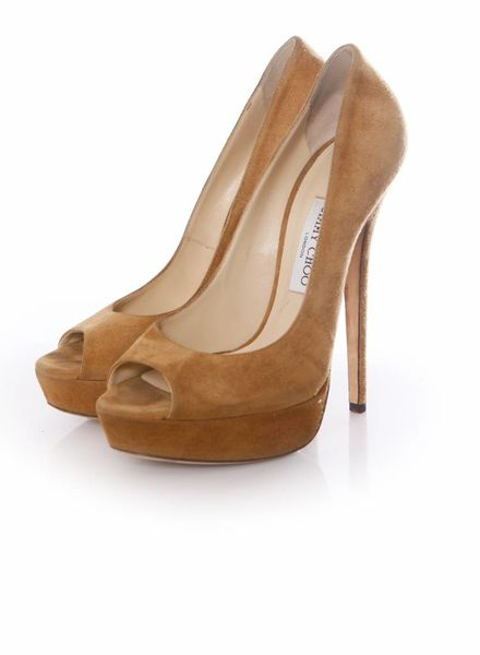 Jimmy Choo Jimmy Choo, camel suede plateau peeptoe pumps in maat 40.
