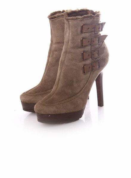 Jimmy Choo Jimmy Choo, Khaki coloured suede platform ankle boots with buckles and lined with shearling wool in size 38.5.