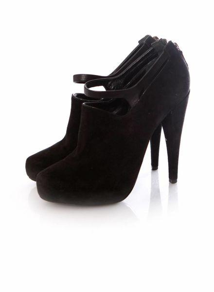 DKNY  Donna Karan, zwart suede shoots met leren band om de enkel in maat 39.5.