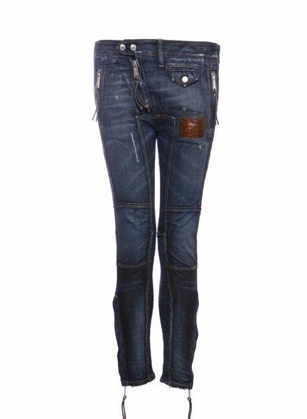 Dsquared2 Dsquared2, blauwe patchwork biker jeans met zilveren hardware in maat IT38/XS.