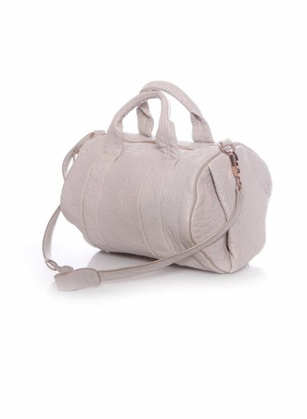 Alexander Wang Alexander Wang, light grey rockie bag with rose coloured studs.