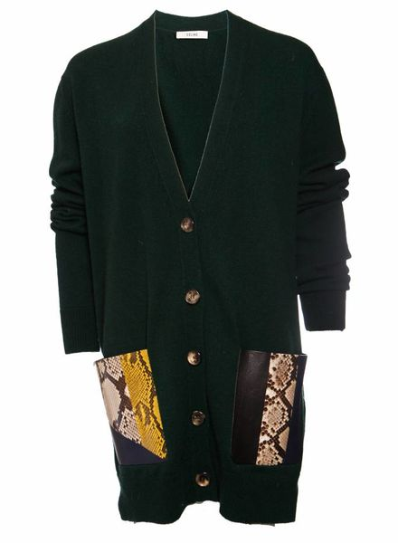 Celine Celine, green cashmere cardigan with python leather pockets in size M.