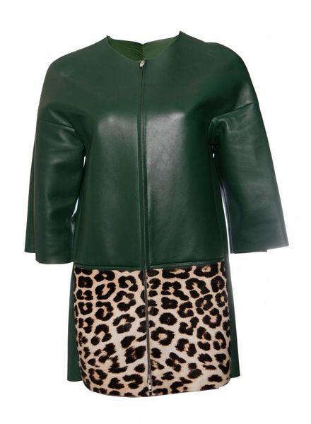 Celine Celine, Green leather jacket with leopard ponyskin on the pockets in size 38FR/S.