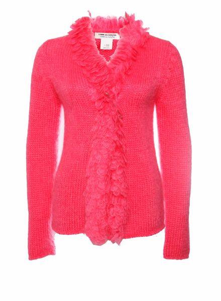 Comme des garçons Comme des garçons, Fluoriserend roze mohair vest met veiligheidsspeld in maat S.