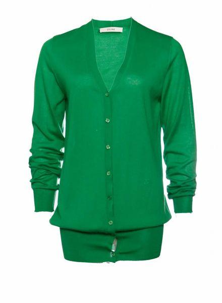 Celine Celine, apple green cashmere cardigan.