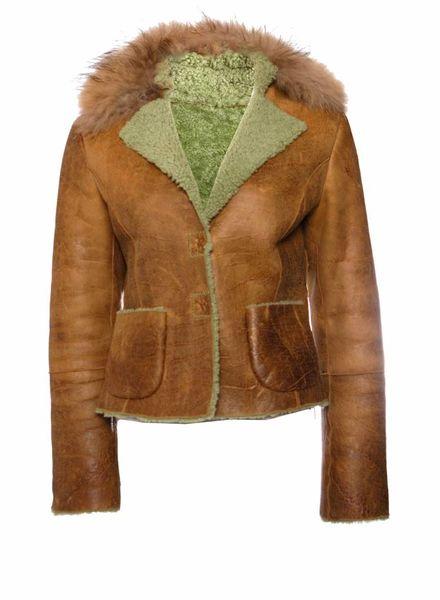 Pinko Pinko, Cognac bruin leren jas met bontkraag gevoerd met groen wol in maat IT44/M.