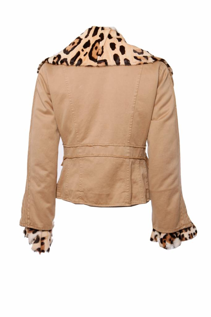 premium selection 4c178 ac315 Ermanno Scervino, camel coloured coat lined with leopard ponyskin in size  IT42/S.
