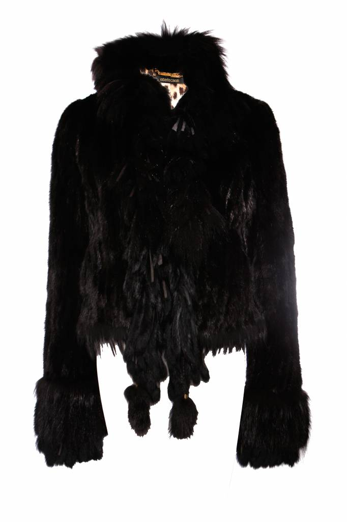 the best attitude f4803 0f228 Roberto Cavalli, Black ink fur coat in size 42IT/S.