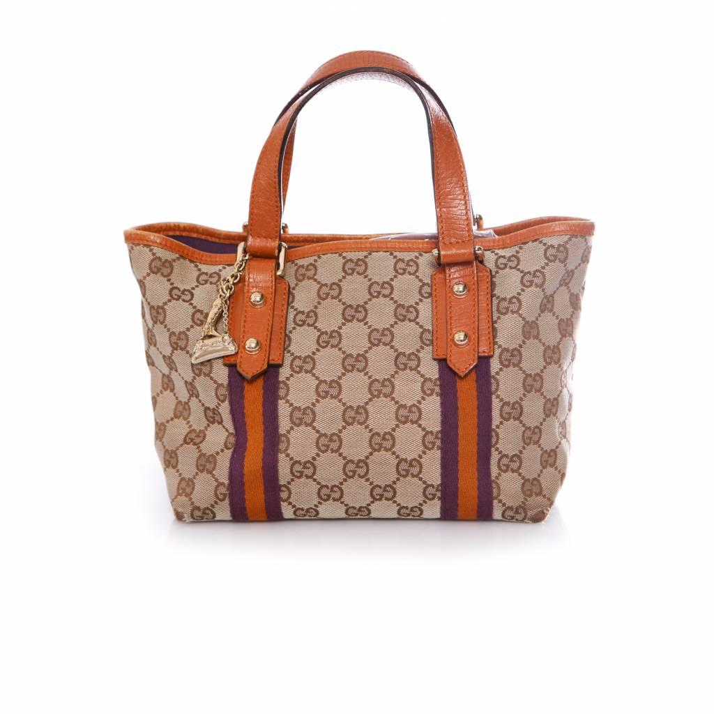 9cf53b5e3da Gucci Gucci, Mini canvas tote bag shopper handbag with gold charms.