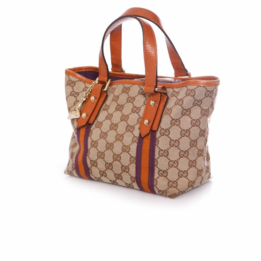 11d197fb31e5 Gucci Mini Canvas Tote Bag Per Handbag With Gold Charms