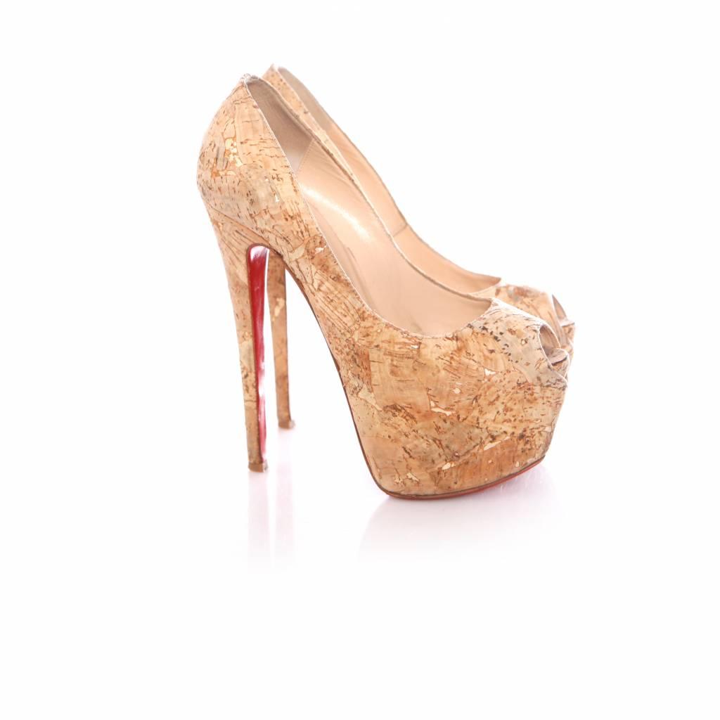 pretty nice 4b829 9db8a Christian Louboutin, Highness cork peep-toe platform red sole pump in size  36.5.