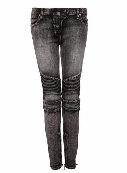Balmain Balmain, grijze biker jeans in maat 38FR/S.