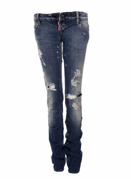 Dsquared2 Dsquared2, licht blauwe spijkerbroek met scheuren en patch tussen de benen in maat IT42/S.