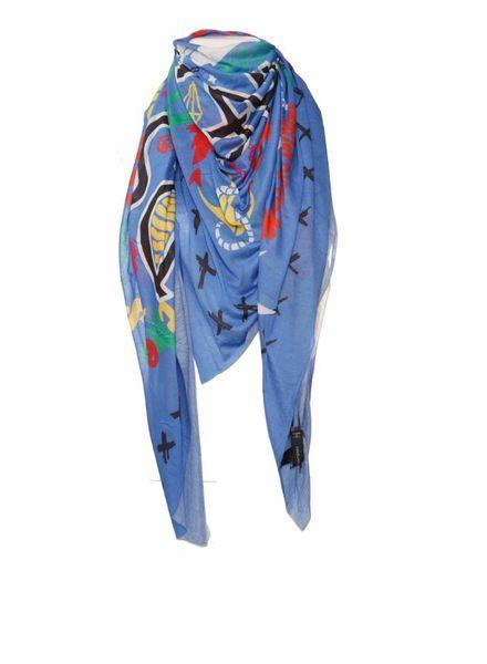 Dsquared2 Dsquared2, hemel blauwe modaal shawl met cartoonprint.