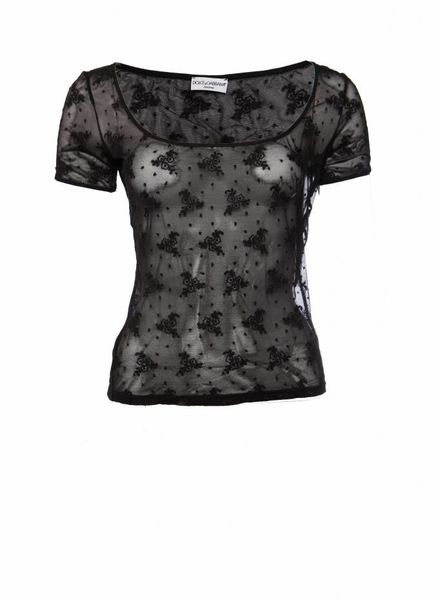 Dolce & Gabbana Dolce & Gabbana intimate, black transparent top with flowers in size L/IT44.