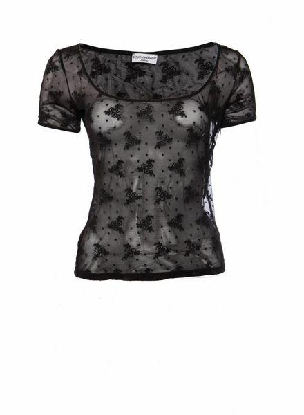Dolce & Gabbana Dolce & Gabbana intimate, zwart transparante top met bloemen in maat L/IT44.