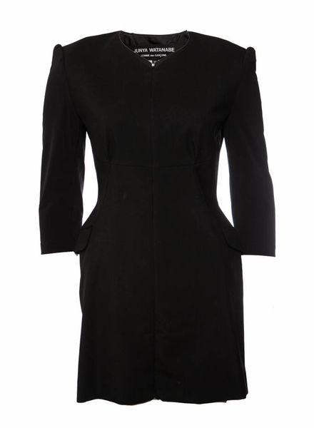 Comme des garçons Junya Watanabe/Comme des garçons, zwarte jurk met open rug in maat M.