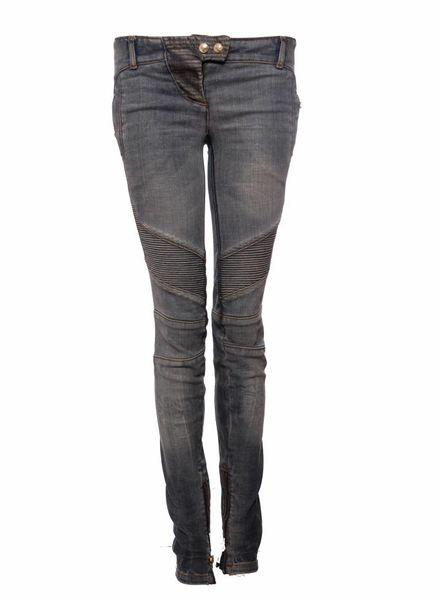 Balmain Balmain, lichtblauwe biker jeans in maat 36FR/XS.