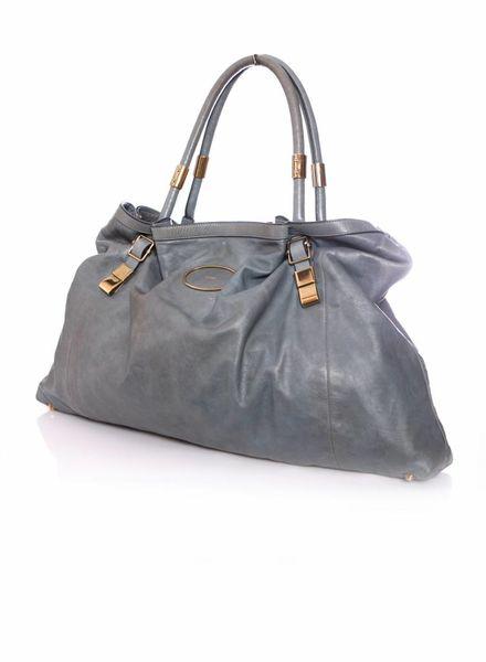 Chloé Chloe, blauw/grijs leren shopper met gouden hardware.