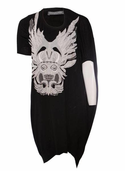 Alexander McQueen Alexander McQueen, Zwart asymmetrische wollen jurk met doodskop in maat S.