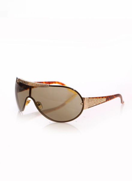 Valentino, brown shaded sunglasses with tortoise print on the arms and gold hardware with stones.