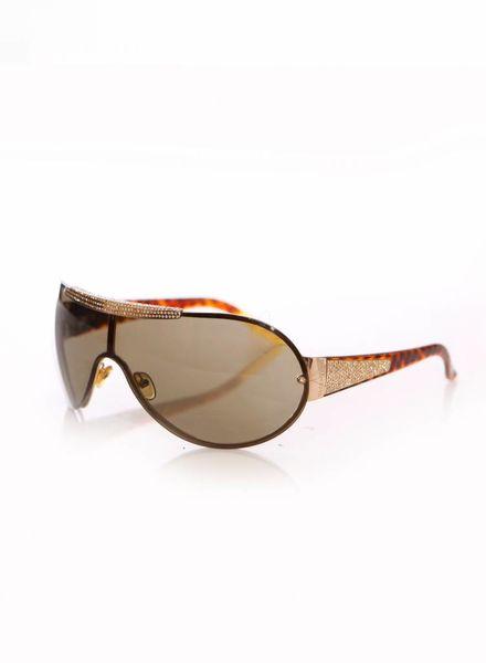 Valentino Valentino, bruin kleurige zonnebril met schildpad print op de pootjes en gouden hardware met steentjes.