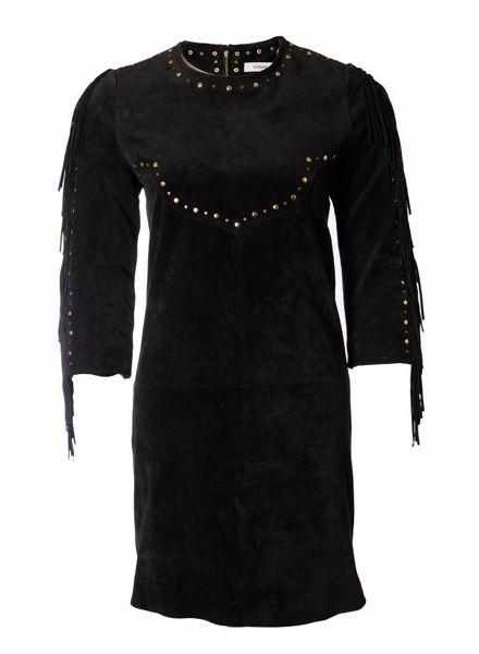 ByDanie ByDanie, zwart suede jurk met franjes en studs in maat S.