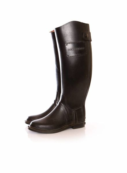 Burberry Burberry, Black rubber rain boots.