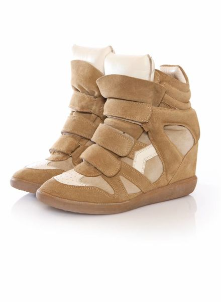 Isabel Marant Isabel Marant, sand coloured suede beckett sneakers in size 38.