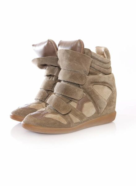 Isabel Marant Isabel Marant, kaki kleurige suede beckett sneakers in maat 38.