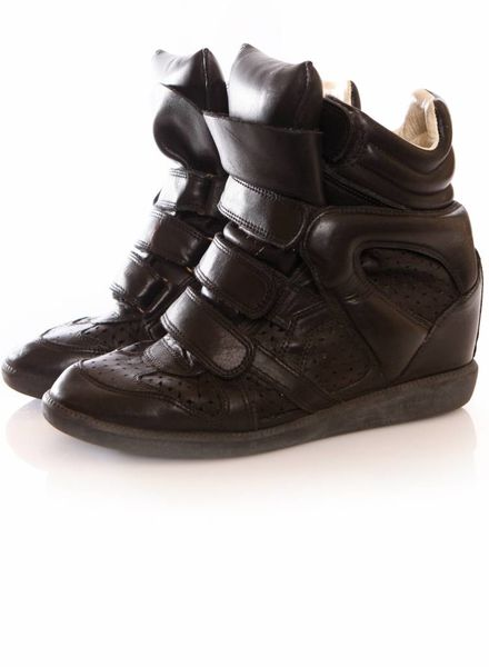 Isabel Marant Isabel Marant, black leather beckett sneakers in size 38.