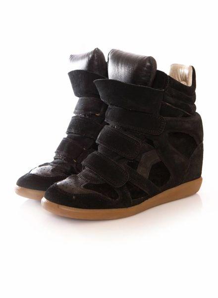 Isabel Marant Isabel Marant, zwart leren/suede/ponyskin beckett sneakers in maat 38.