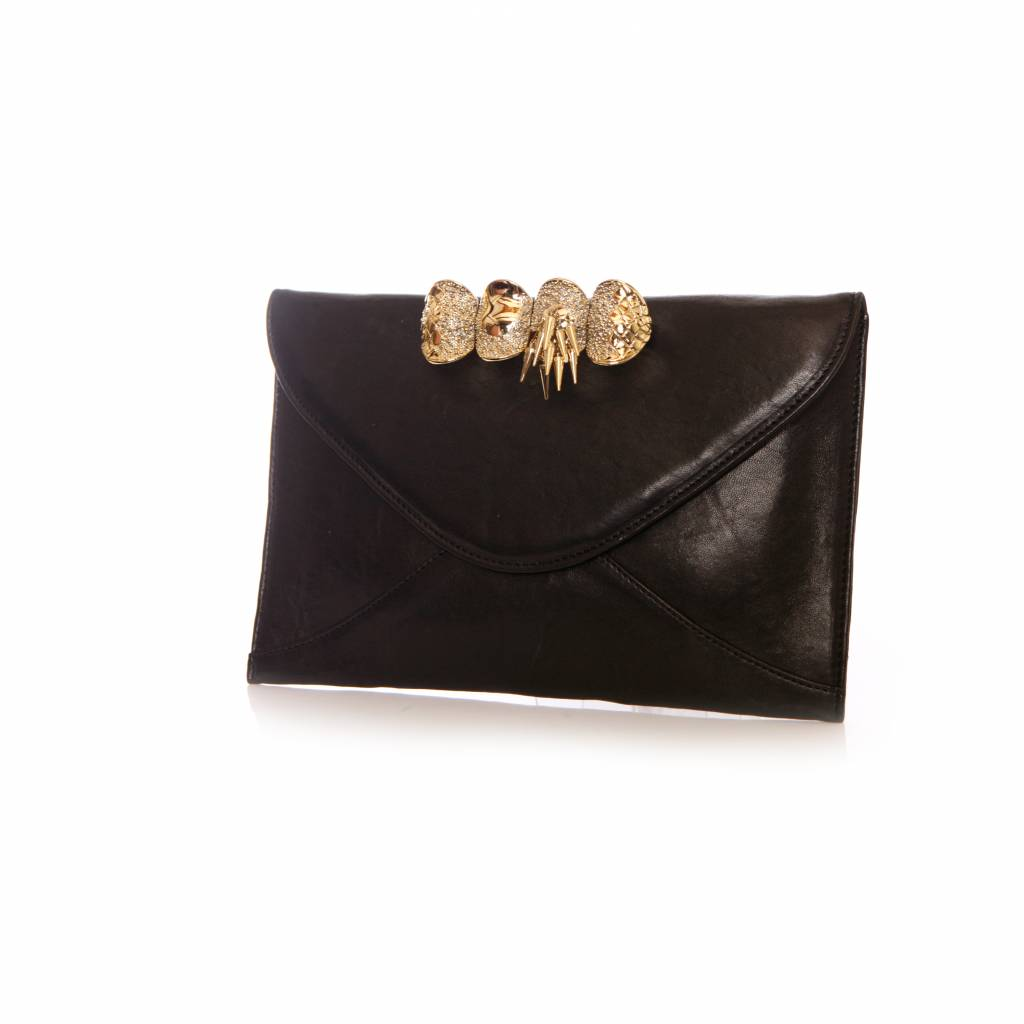 3180d2e31b Duposh Duposh, Large black lamb leather clutch bag with 14 k gold plated  Knuckle ring ...