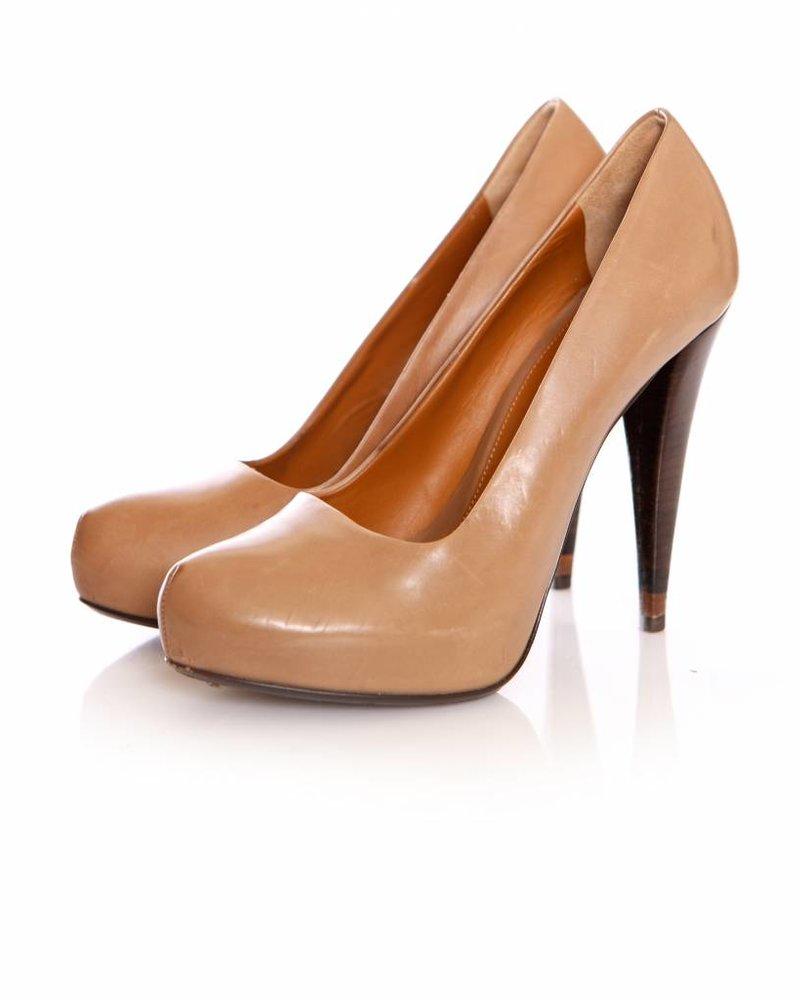 Fendi Fendi, brown leather pumps with hidden platform in size 37.