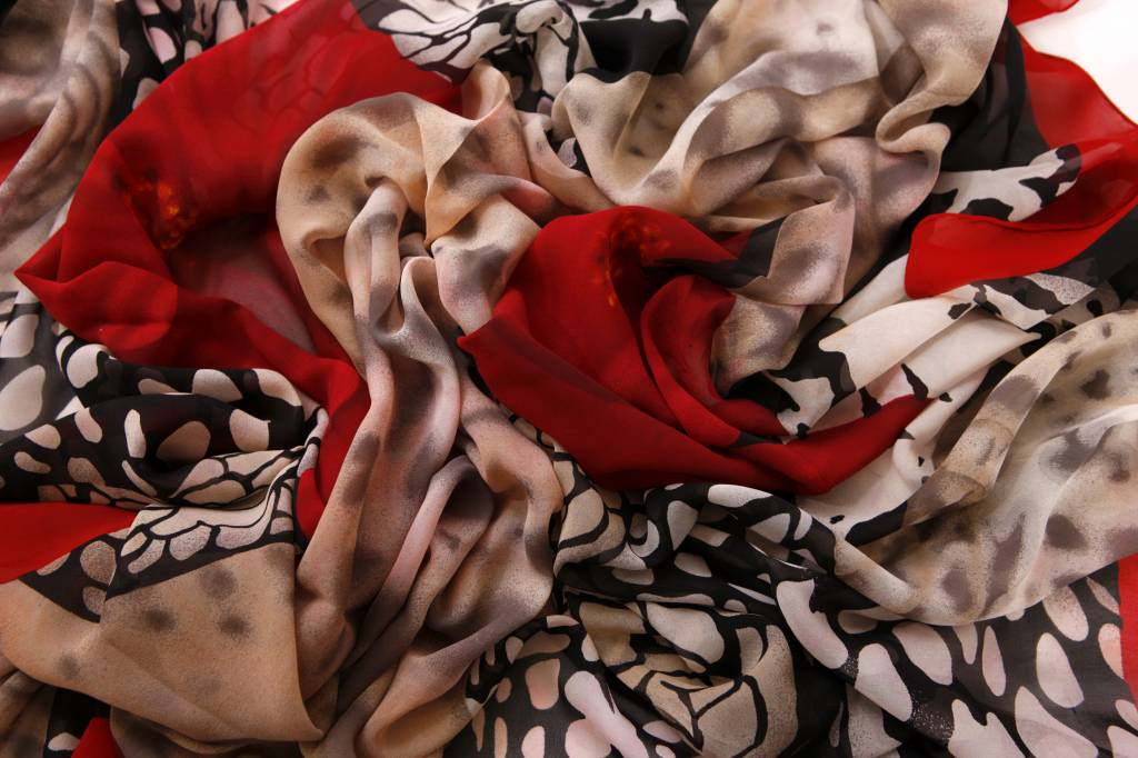 Gianfranco Ferre Black And White Silk Scarf With Red Flowers And