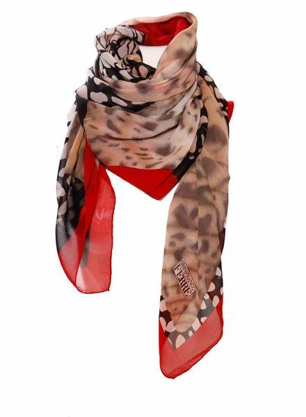 Gianfranco Ferre Gianfranco Ferre, zwart/wit shawl met rode bloemen en rode rand in zijde.