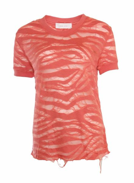 IRO IRO JEANS, roze shirt met semi-transparante army print in maat S.