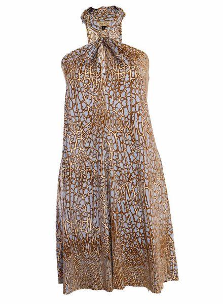Issa London Issa London, blauw beige jurkje met giraffe print in maat  6/S.
