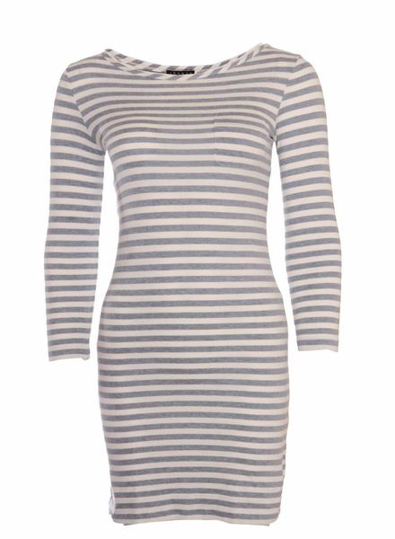 Theory Theory, white dress with grey stripes.